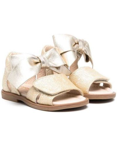 Złote sandały peep toe Florens