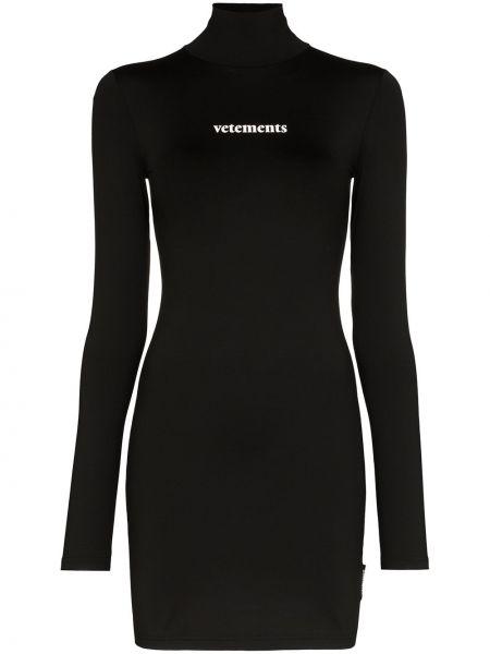 Платье мини черное с принтом Vetements
