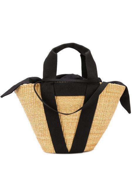 Желтая соломенная сумка-тоут со вставками Muun