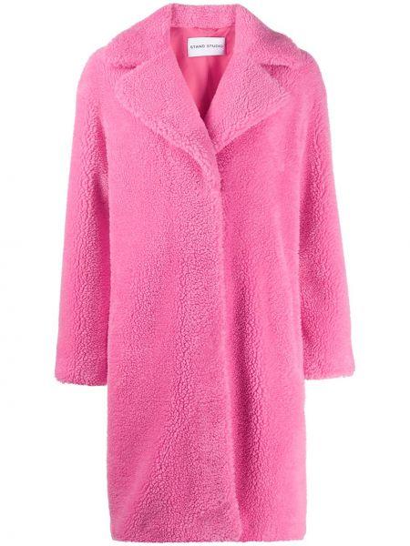 Прямое розовое пальто классическое Stand
