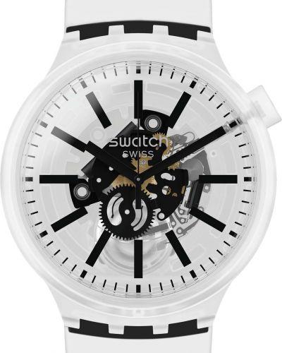 Силиконовые белые часы водонепроницаемые прозрачные Swatch