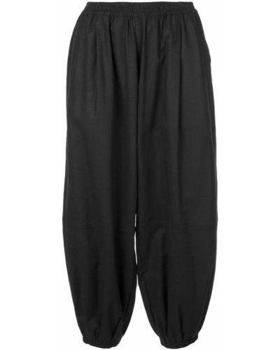 Черные льняные укороченные брюки с поясом с манжетами The Celect