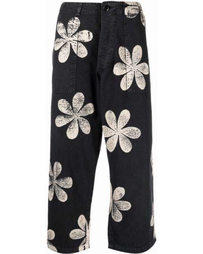 Хлопковые черные укороченные брюки с карманами The Great.