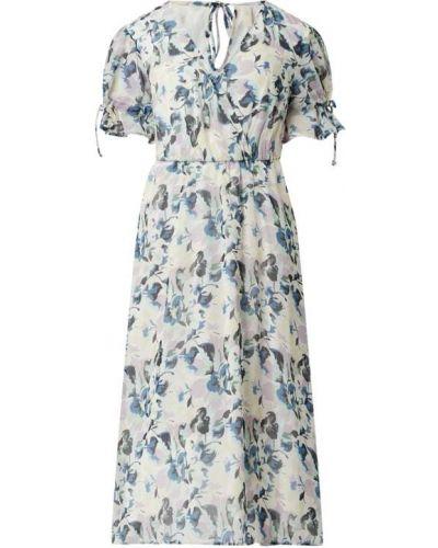 Niebieska sukienka mini rozkloszowana z szyfonu Y.a.s