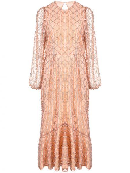 Нейлоновое розовое платье миди с вышивкой с открытой спиной Markarian