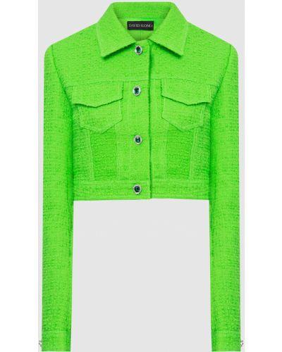 Зеленый шерстяной пиджак David Koma