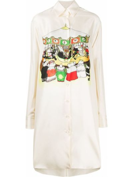 Шелковая с рукавами рубашка с воротником Lanvin