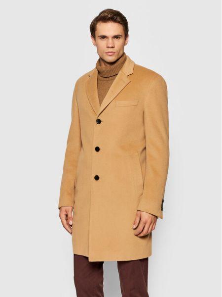 Płaszcz wełniany - beżowy Boss