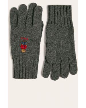 Szare rękawiczki wełniane Polo Ralph Lauren