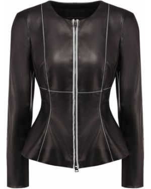 Кожаная куртка черная с баской Giorgio Armani