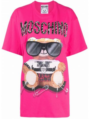 Розовая хлопковая футболка Moschino