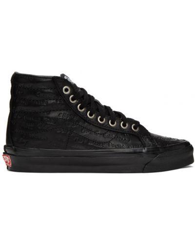 Черные кожаные высокие кроссовки на каблуке Vans