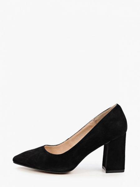 Замшевые туфли черные закрытые Pierre Cardin