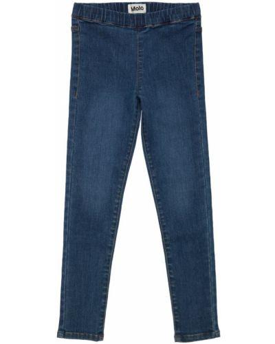 Хлопковые синие джинсы на резинке с заплатками Molo