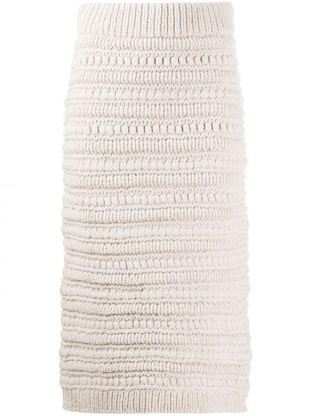 Шерстяная юбка карандаш с поясом в рубчик Christian Wijnants