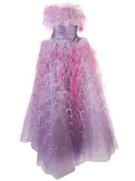 Фиолетовое вечернее платье с перьями без бретелек Marchesa