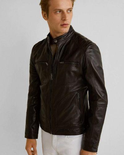 Кожаная куртка черная осенняя Mango Man