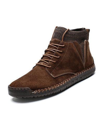 Повседневные замшевые коричневые ботинки Newchic