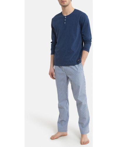 Хлопковая пижама с брюками в клетку с карманами Laredoute