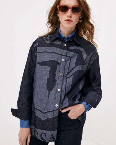 Синяя джинсовая рубашка Trussardi