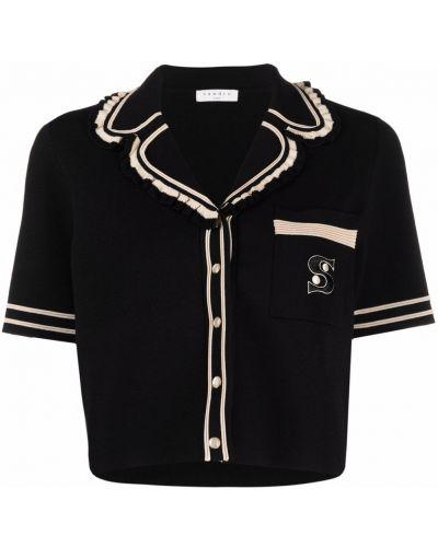 Блузка с короткими рукавами - черная Sandro Paris