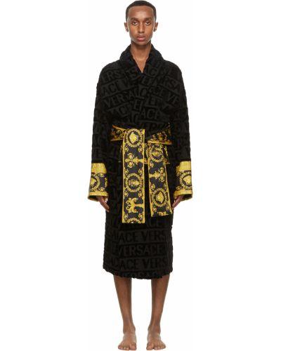 Złoty czarny długi szlafrok z długimi rękawami Versace