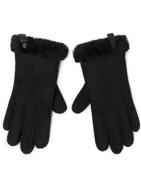 Czarne rękawiczki skorzane Ugg