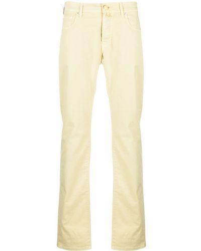 Хлопковые желтые джинсы-скинни на молнии Jacob Cohen