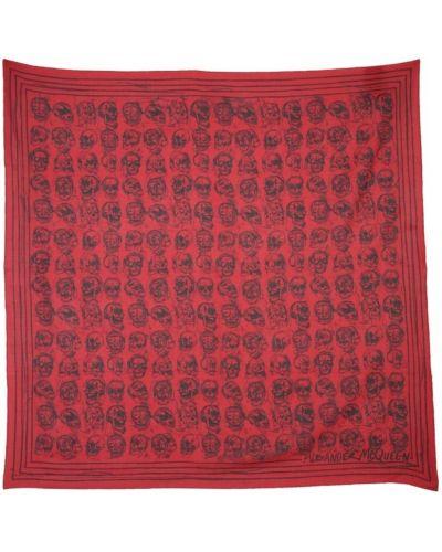 Szalik bawełniany - czerwony Alexander Mcqueen