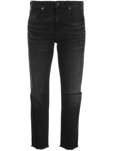 Прямые джинсы с бахромой черные Rag & Bone