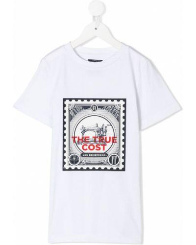 Белая хлопковая прямая футболка с круглым вырезом Les Bohemiens Kids