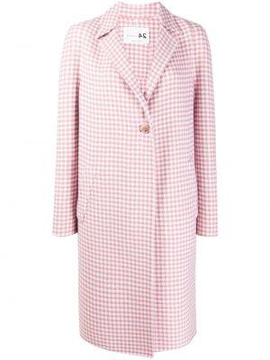 Розовое шерстяное длинное пальто в клетку Manzoni 24
