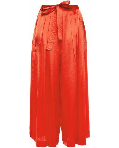 Оранжевые шелковые плиссированные кюлоты Mcq Alexander Mcqueen