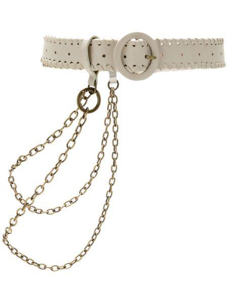 Бежевый кожаный ремень с пряжкой с поясом НК