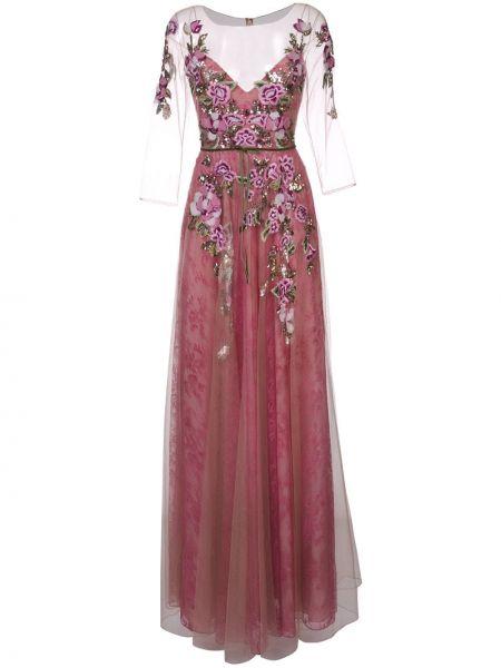 Вечернее платье розовое с цветочным принтом Marchesa Notte