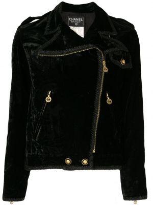 Черная куртка на молнии байкерская Chanel Pre-owned