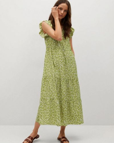 Прямое зеленое платье А-силуэта Mango