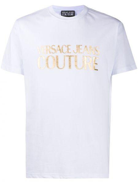 С рукавами белая джинсовая рубашка круглая Versace Jeans Couture