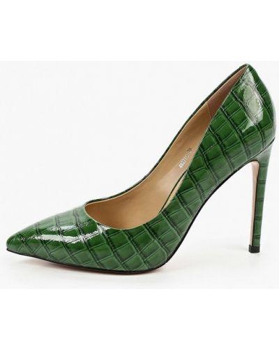 Лаковые зеленые кожаные туфли-лодочки Vitacci