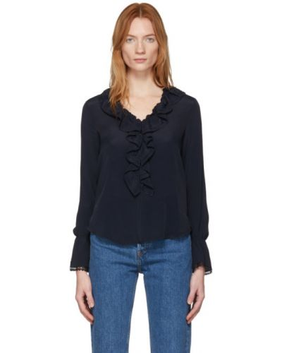Блузка с длинным рукавом кружевная шелковая See By Chloe