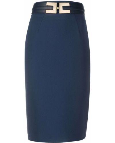 Синяя с завышенной талией юбка карандаш с пряжкой с поясом Elisabetta Franchi