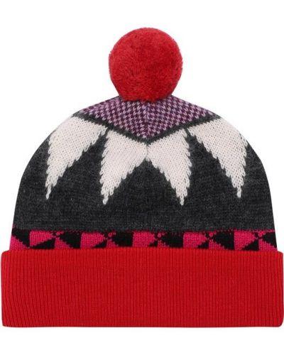 Вязаная шапка с помпоном бини с узором Burberry