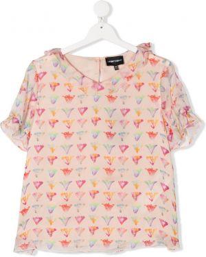 Розовая с рукавами шифоновая блузка Emporio Armani Kids