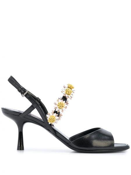 Открытые черные босоножки на каблуке с аппликациями Fabrizio Viti