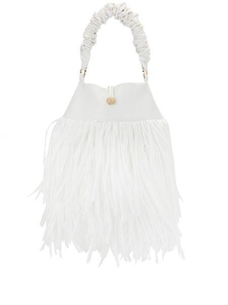 Белая сумка-тоут с бахромой на пуговицах 0711