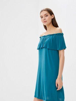 Бирюзовое платье с открытыми плечами Top Secret