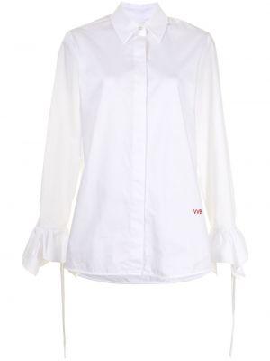 Хлопковая с рукавами белая классическая рубашка Victoria, Victoria Beckham