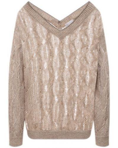 Бежевый пуловер из мохера Brunello Cucinelli