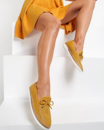 Ażurowe mokasyny - żółte Renee