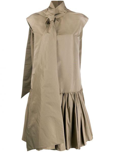 С заниженной талией коричневое с рукавами платье миди Rochas